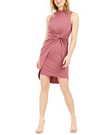 Bar III Ruched Twist-Front Dress, Created for Macy's