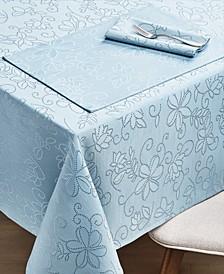 """CLOSEOUT! Vivian Floral Blue Tablecloth, 60"""" x 120"""""""