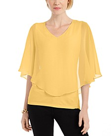 Solid V-Neck Chiffon Overlay Top, Created for Macy's