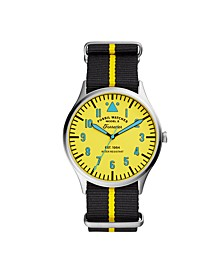 Mens Forrester Yellow Multi Nylon Strap Watch 42MM