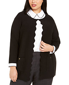 Kasper Plus Size Scalloped Cardigan