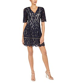 Short-Sleeve Lace Fit & Flare Dress