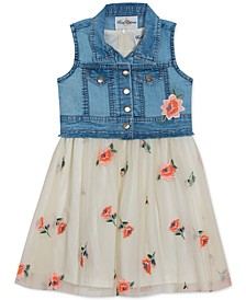 Little Girls 2-Pc. Denim Vest & Embroidered Floral Mesh Dress