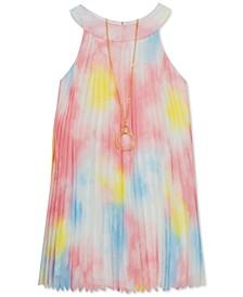 Little Girls Pleated Tie-Dye Dress