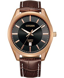 Men's Quartz Brown Leather Strap Watch 42mm