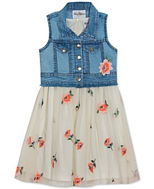 Big Girls 2-Pc. Denim Vest & Embroidered Floral Mesh Dress