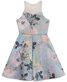 Big Girls Floral Jacquard Illusion Dress
