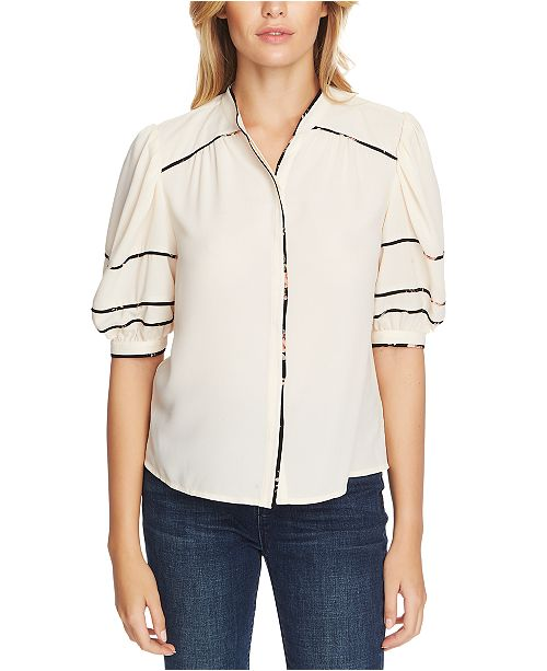 1.STATE Collarless Contrast-Trim Top