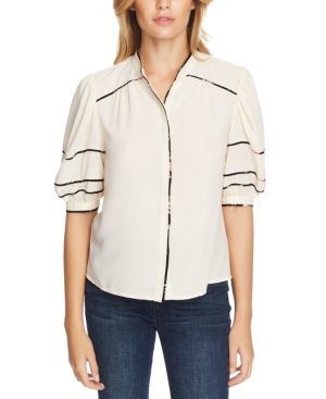 Image of 1.state Collarless Contrast-Trim Top