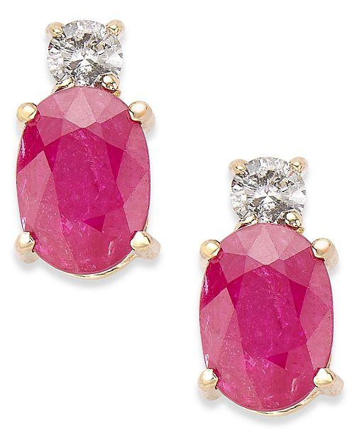 Macy's 14k Gold Earrings, Ruby (2 ct. t.w.) and Diamond (1/8 ct. t.w.) Oval Earrings