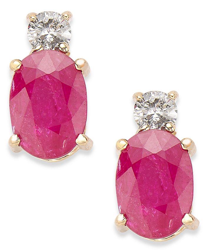 Macy's - 14k Gold Earrings, Ruby (2 ct. t.w.) and Diamond (1/8 ct. t.w.) Oval Earrings