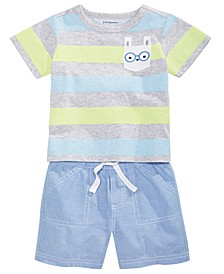 Baby Boys Bunny Pocket T-Shirt & Shorts Separates, Created for Macy's
