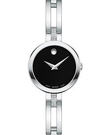 Women's Swiss Esperanza Diamond (1/20 ct. t.w.) Stainless Steel Bangle Bracelet Watch 25mm