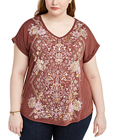 Style & Co Plus Size Graphic-Print Cotton T-Shirt, Created for Macy's