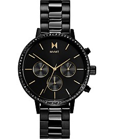 Women's Chronograph Caviar Black Stainless Steel Bracelet Watch 38mm