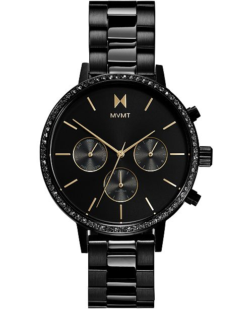 MVMT Women's Chronograph Caviar Black Stainless Steel Bracelet Watch 38mm