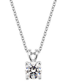X3 Certified Diamond Pendant Necklace in 18k White Gold, Created for Macy's