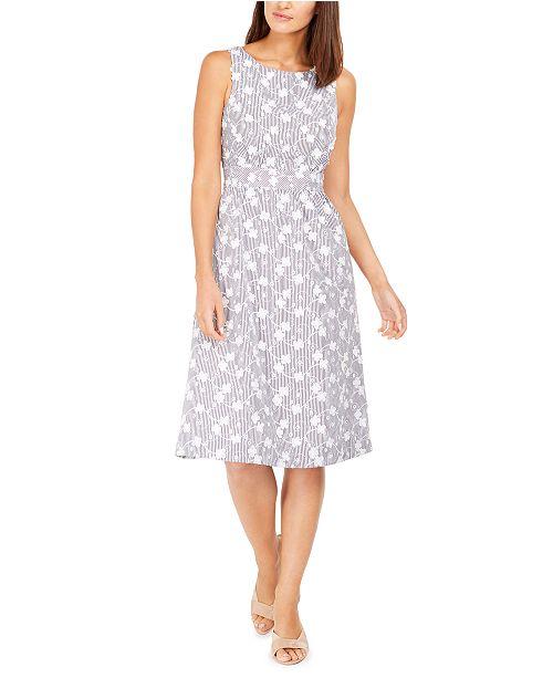 Calvin Klein Petite 3D Floral A-Line Dress
