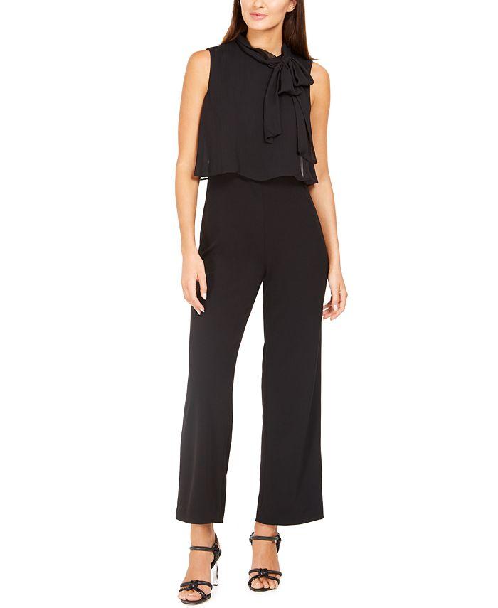Calvin Klein - Petite Chiffon Tie-Neck Jumpsuit