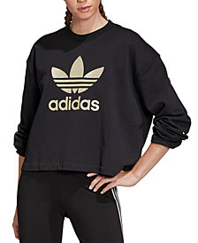 adidas Originals Women's Cotton Metallic-Logo Cropped Sweatshirt