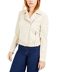Faux-Suede Zip-Front Moto Jacket, Created for Macy's