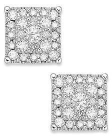 Diamond Square Cluster Stud Earrings in 14k White Gold (3/8 ct. t.w.)