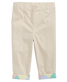 Baby Boys Cotton Chino Pants With Printed Cuffs, Created for Macy's