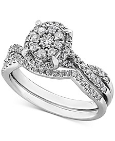 Diamond Oval Cluster Bridal Set (1/2 ct. t.w.) in 14k White Gold