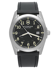 Victorinox Swiss Army Watch, Men's Infantry Black Leather Strap 40mm 241584