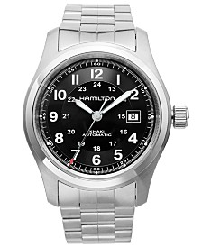 Hamilton Watch, Men's Swiss Automatic Khaki Field Stainless Steel Bracelet 42mm H70515137