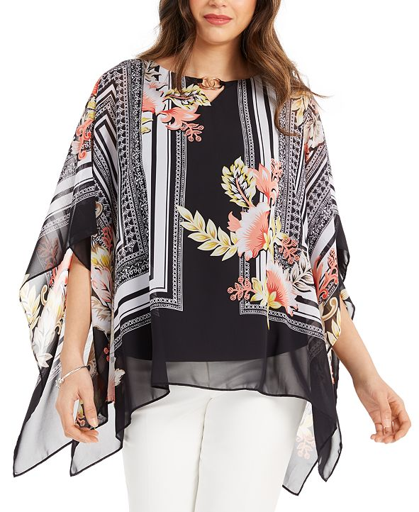 JM Collection Printed Chiffon Poncho, Created for Macy's