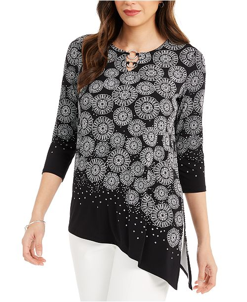 JM Collection Printed Asymmetrical-Hem Tunic Top, Created For Macy's
