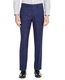 Men's Portfolio Slim-Fit Stretch Blue Pindot Suit Pants