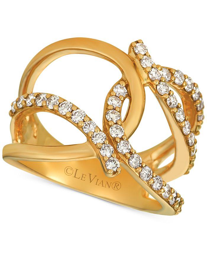 Le Vian - Nude Diamond (7/8 ct. t.w.) Interlocking Statement Ring in 14k Rose Gold