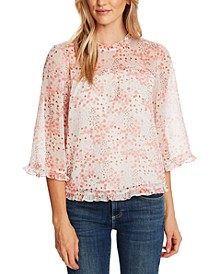 Ruffled Ditsy-Print Top