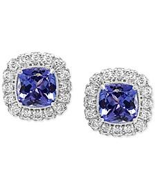 EFFY® Tanzanite (1-1/3 ct.-t.w.) & Diamond (3/8 ct. t.w.) Halo Stud Earrings in 14k White Gold