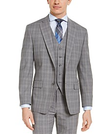 Men's Classic-Fit Airsoft Stretch Gray Plaid Suit Jacket