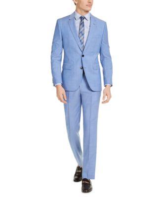Hugo Boss Men's Classic-Fit Light Blue Solid Suit Jacket