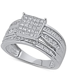 Princess Cluster Engagement Ring (1 ct. t.w.) in 14k White Gold