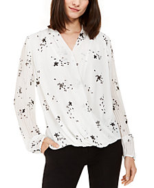 Alfani Printed Surplice Pleated Top, Created for Macy's