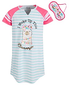 Big Girls Llama Sleep Shirt & Eye Mask