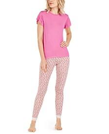 Juliet Ruffle-Sleeve Sleep T-Shirt & Montague Printed Sleep Leggings