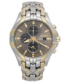 Seiko Watch, Men's Chronograph Solar Two-Tone Stainless Steel Bracelet 43mm SSC138