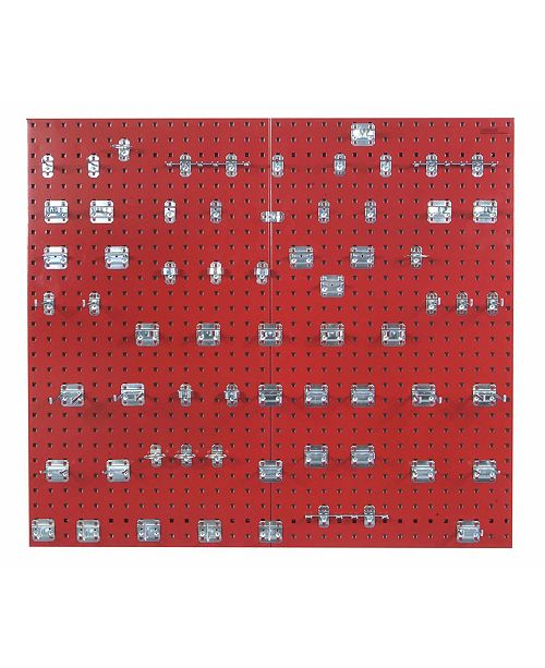 Triton Products Locboard 2 Epoxy 18 Gauge Steel Square Hole Pegboards with 63 Piece Lochook Assortment
