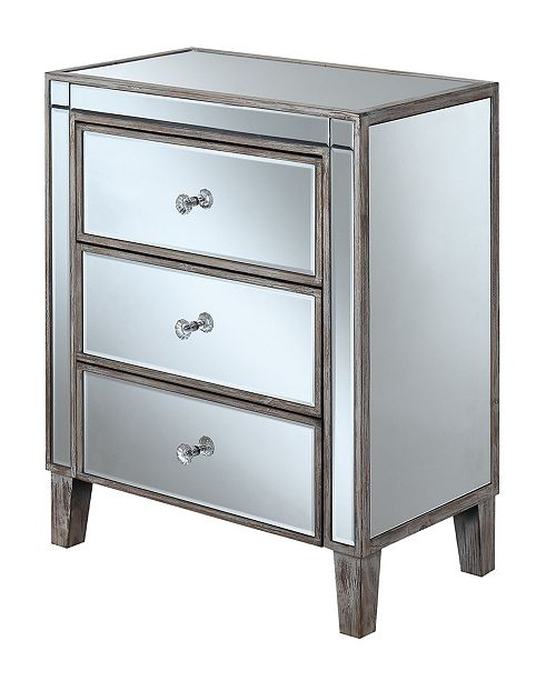 Convenience Concepts Gold Coast Large 3 Drawer Mirrored End Table