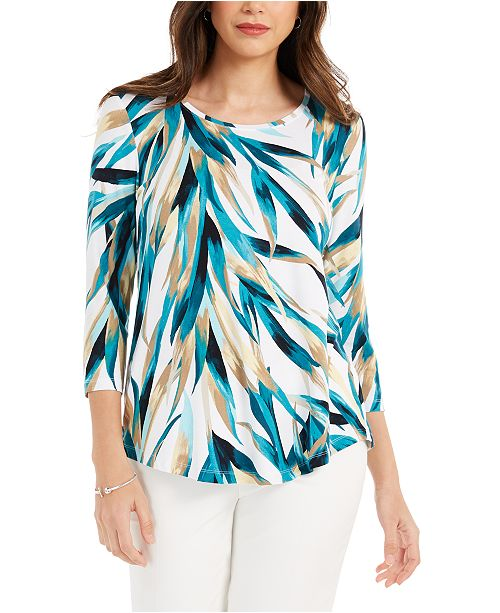 JM Collection Printed 3/4-Sleeve Scoop-Neck Top, Created For Macy's