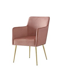Christine Velvet Arm Dining Chair with Metal Legs and Knob Set of 2