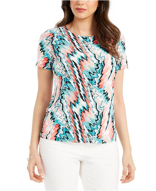 JM Collection Abstract-Print Jacquard Top, Created For Macy's