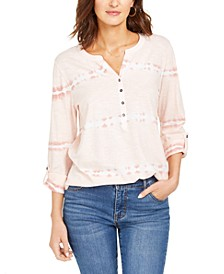 Cotton Tie-Dyed Split-Neck Top, Created for Macy's
