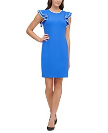 Scuba Crepe Flutter Sleeve Sheath Dress